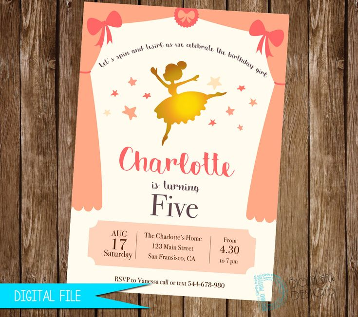 Ballerina Invitation - Ballet Birthday Invitation - Ballerina Invite - Ballerina Party - Dancer Invitation - Ballet Invitation - Printable by DigitalArtDesignsByB on Etsy