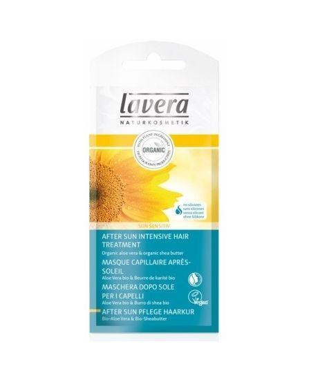 LAVERA SUN HAJKÚRA NAPOZÁS UTÁN 20 ML - Szilikon mentes,  bio aloe verával és bio sheavajjal. Ajánljuk száraz, naptól töredezetté vált hajra.  Használat: hajmosás után a haj teljes hosszára alkalmazzuk, 5 percig hagyjuk rajta, majd alaposanmossuk le. A német NaTrue által ellenőrzött naturkozmetikum, vegán.