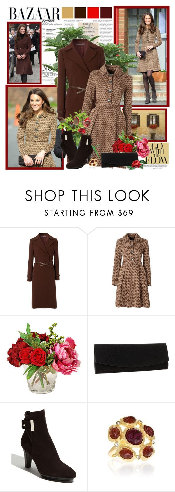 """Go with the flow - Kate Middleton"" by helleka ❤ liked on Polyvore featuring Orla Kiely, Hobbs, Stuart Weitzman, Aquatalia by Marvin K., Kenneth Jay Lane, suede ankle boots, cocktail rings, shirt dresses, flared coats and clutches"