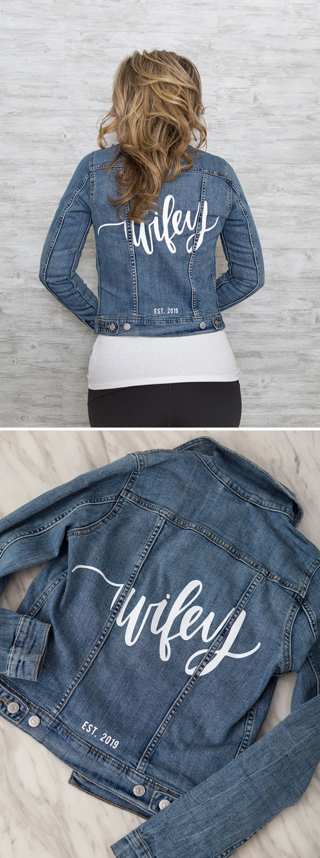 These Custom Bride And Wifey Jean Jackets Are The Best Bridal Shower Outfit Wedding Jacket Jean Jacket [ 1766 x 660 Pixel ]