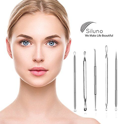 Professional Blackhead Remover Kit Set 5 – Comedone Extractor Pimple Popper Acne Blemish Spots Remover – Facial Treatment – Stainless steel – Better than Oil Cream Gel Mask – Face Skin Care