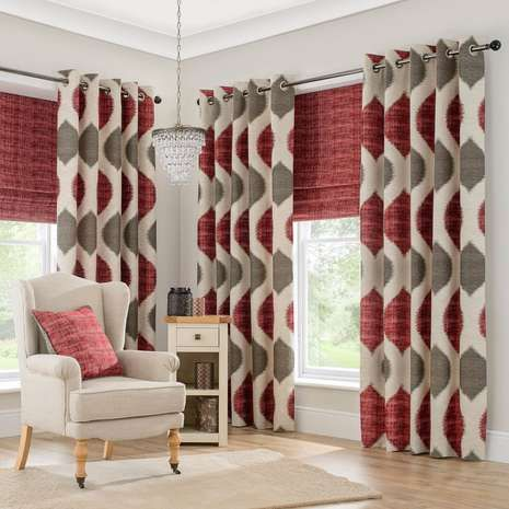 Featuring luxurious red and grey textured geometric patterning, these lined curtains are fabricated from a durable polycotton blend, complete with an eyelet hea...