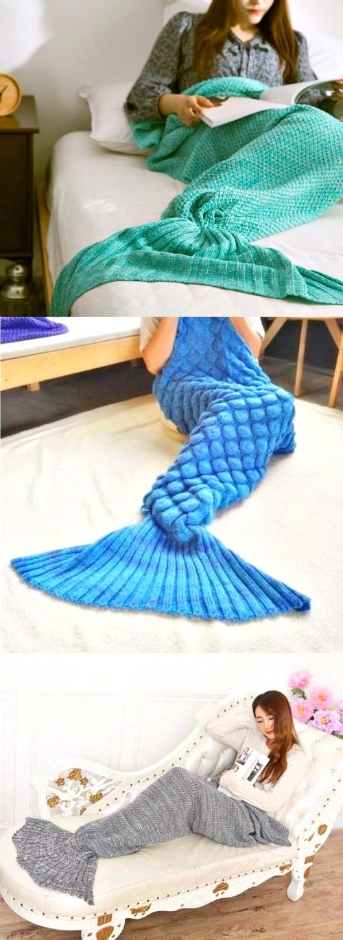 When you've always wanted to be a mermaid... This mermaid tail blanket is everything - OMG I NEED one of these to keep my legs warm this winter! Imagine wearing one of these on the couch with a hot cup of tea and a book in hand - YES!