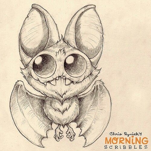 Scribble Monster Drawing : Cute bat drawing by chris ryniak this would make a