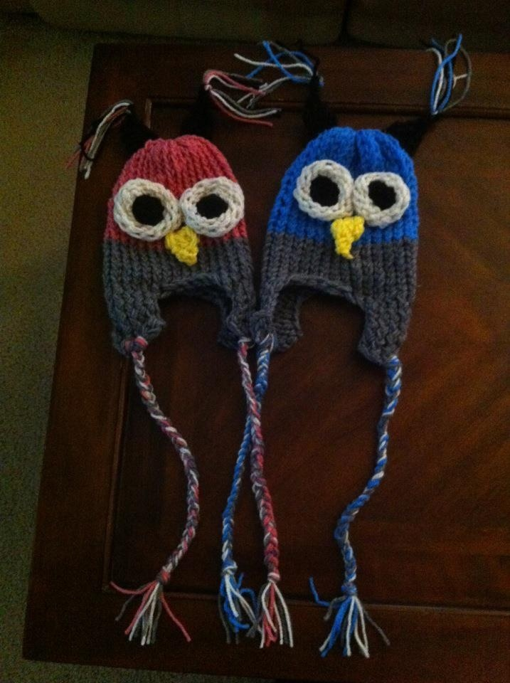 Loom knitted owl hats