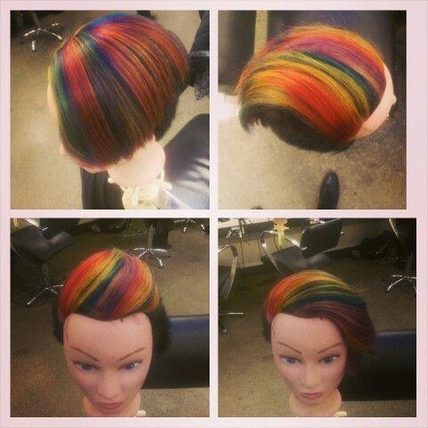 Rainbow and razor haircut by me , lots of fun