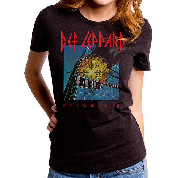 Goodie Two Sleeves Black Def Leppard Pyromania Tee ($17) ❤ liked on Polyvore featuring tops, t-shirts, cotton tees, cotton t shirts and goodie two sleeves