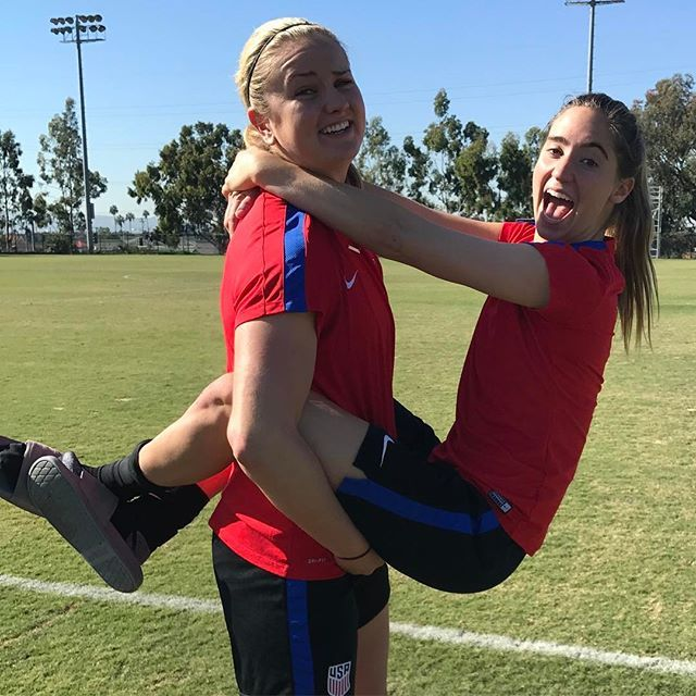Find someone who is as happy to be near you as Morgan Brian is with Lindsey Horan. #WorkWives