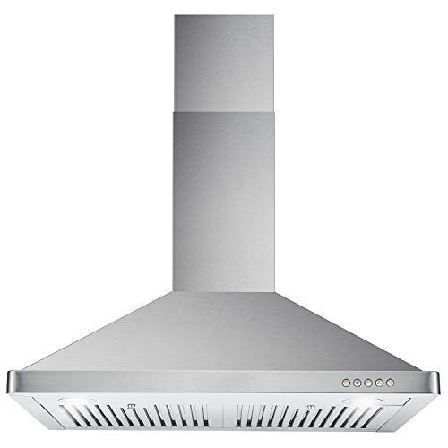 Cosmo Kitchen Presents This Powerful European Style Range Hood It Features An Ultra Modern Design With Twin Led Li Stove Vent Wall Mount Range Hood Range Hood