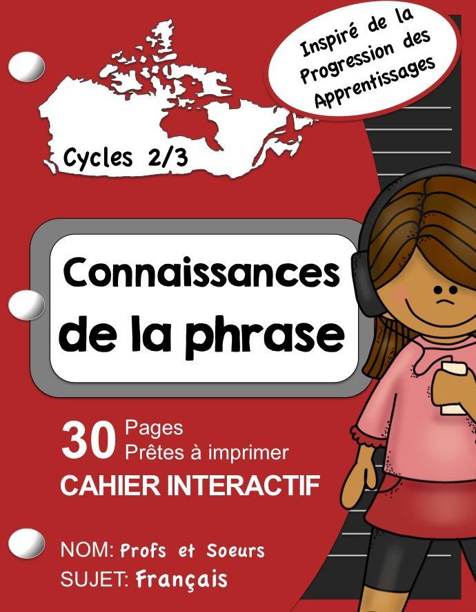 30 pages pour créer un cahier interactif: Connaissances de syntaxe pour écrire des phrases