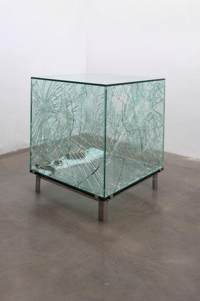 SARAH VAN SONSBEECK    ONE CUBIC METER OF BROKEN SILENCE, 2009  vandalized art object, brick, glass steel  104 cm x 104 cm x 104 cm