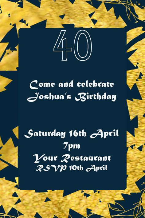 Navy and Gold Printable Invitation  This is a digital file for you to print yourself. You will NOT be sent any physical product.  This listing is