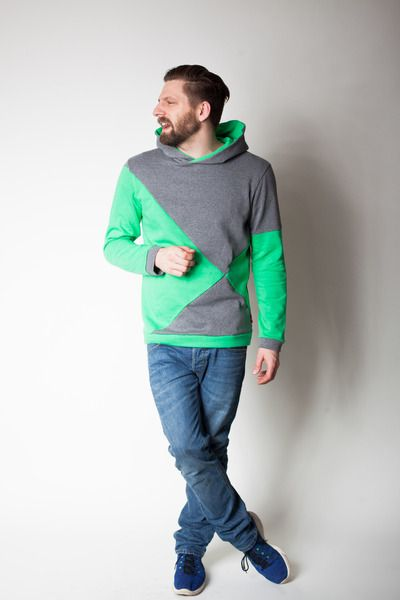 sorted Männer Hoodie grau/grün von sorted-clothing auf DaWanda.com