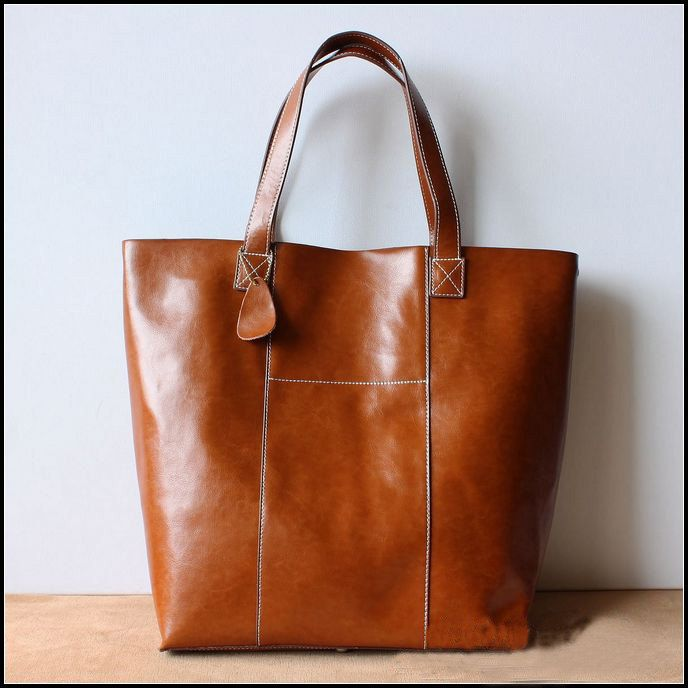 Handmade Large Leather Tote Bag / Lady Bag / Shopper Bag ...