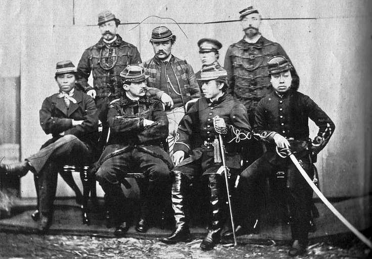 Boshin war era samurai with European soldiers, late Edo period.