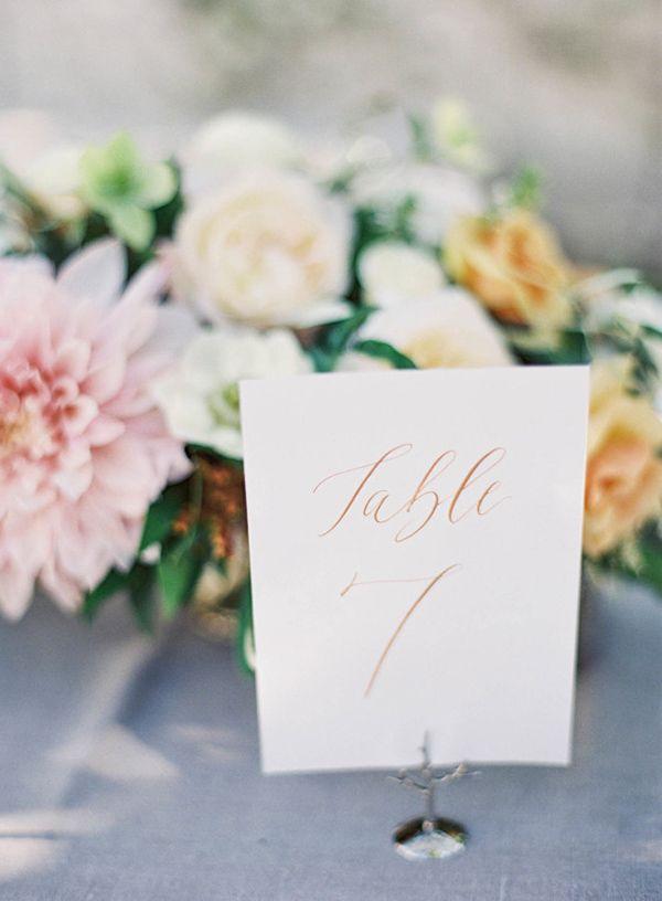 Elegant Calligraphy Table Numbers | Jen Huang Photography | http://heyweddinglady.com/dreamy-blue-latte-wedding-palette/