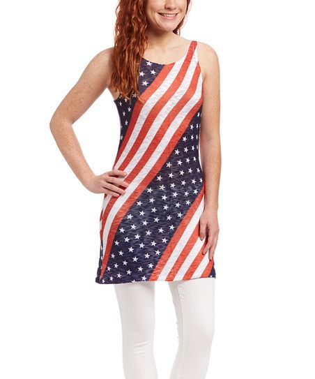 Casa Lee Red & Blue American Flag Dress | zulily