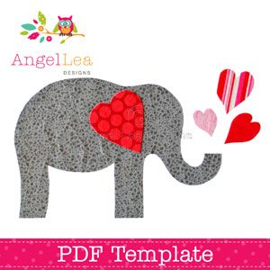 Valentine Elephant Applique Template