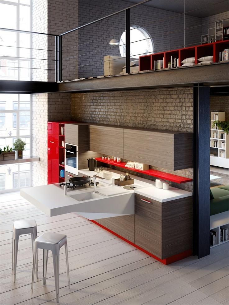Hideaway wall-mounted #kitchen BOARD by @Santiago R. Snaidero Cucine | #design Pietro Arosio #interiors