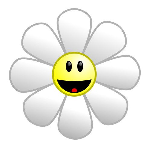 Happy cartoon sunflower made from basic shapes.