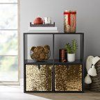 Buy Mainstays Reversible Sequin Collapsible Storage Cube Bins (10.5 x 10.5), 2 Pack at Walmart.com