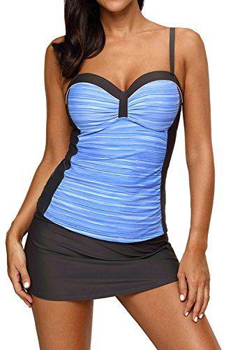 df35ea9600 Shawhuwa Womens Sweatheart Neck Color Block Print Tankini Swimsuits Set