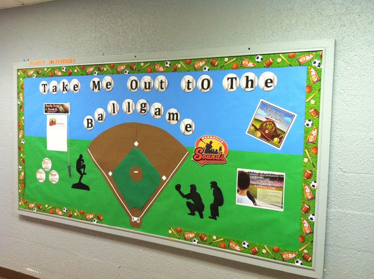 "Bulletin Boards baseball Inspiration: Top 12 Baseball Bulletin Board Ideas ""Take me out to the library"""
