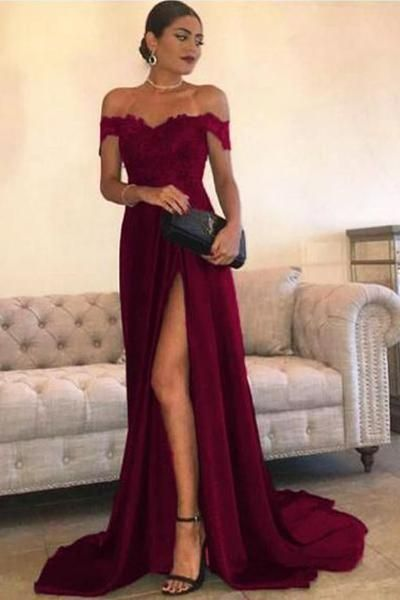 Sexy Leg Slit Long Prom Dresses Lace Off-the-Shoulder Evening Gowns