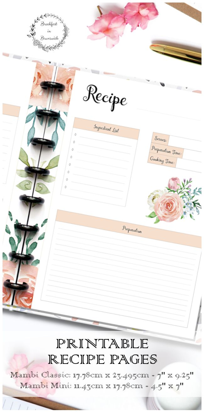 Happy planner recipe insert, mambi mini printable recipe pages, hp.