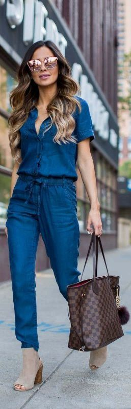 Rose gold sunglasses, denim jumpsuit, Louis Vuiton Neverfull in damier ebene, tan open toe booties