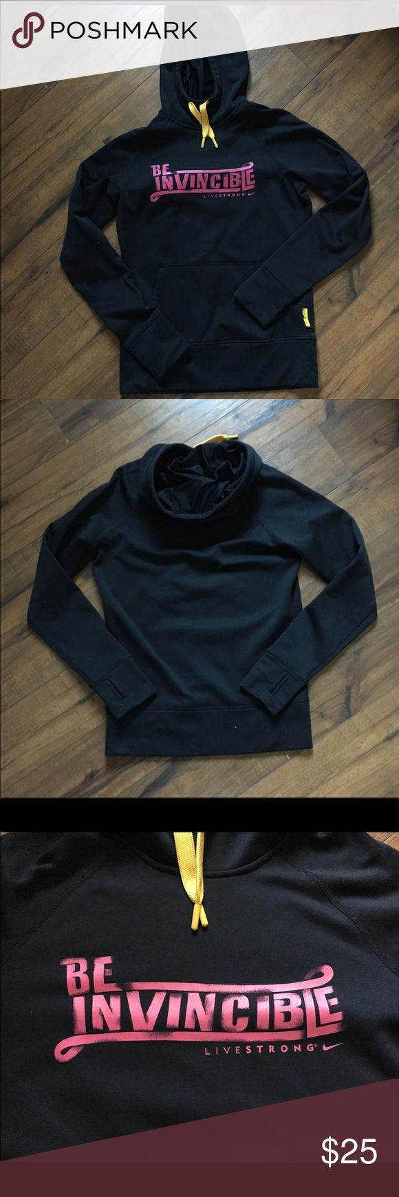 """💥Nike Livestrong hoodie, sweatshirt, black Nike Livestrong hoodie.  •Black with pink lettering & a yellow drawstring •Thumb holes in the cuffs.   •Barely worn, no visible wear- excellent condition! •Size Sm •Length: 27"""", armpit to armpit: 19"""", sleeve length (from base of neck): 30.5"""".   🎀More hoodies/ sweatshirts in my closet🎀 ⚜️ Same/next day ship ⚜️ 🐲 Smoke-free 🐲  I do not discuss price in the comments, use the offer button please Nike Tops Sweatshirts & Hoodies"""
