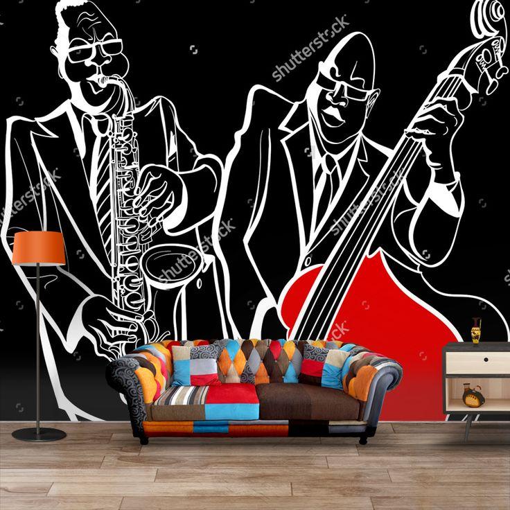 Fotobehang Jazz muzikanten illustratie   Maak het jezelf eenvoudig en bestel fotobehang voorzien van een lijmlaag bij YouPri om zo gemakkelijk jouw woonruimte een nieuwe stijl te geven. Voor het behangen heb je alleen water nodig! #behang #fotobehang #print #opdruk #afbeelding #diy #behangen #jazz #muziek #muzikanten #illustratie #zwart #wit #amerika #soul