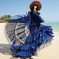 Мода Богемия 2017 Полный Юбки Женская Оборками Расширение Нижней Вышивка Макси Длинные Юбки