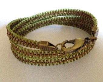 Delicate Brass and Chocolate Zipper Wrap by ArtologieDesigns