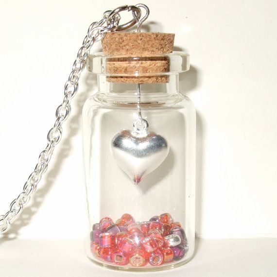 Bottle Necklace Heart Pendant Necklace Red