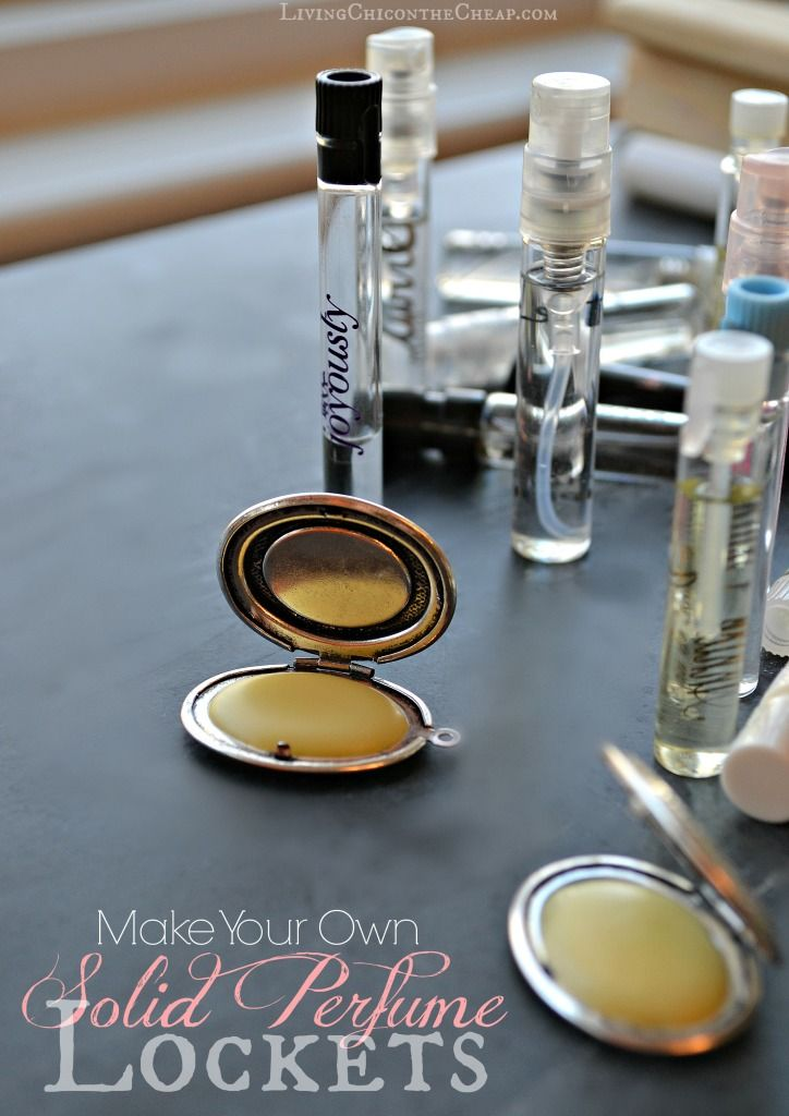 **Make Your Own Solid Perfume Lockets** Here is an easy DIY. If you have any perfume samples around this project is a great way to use those up!  You could also use essential oil if you prefer. #DIY #DIYBeauty