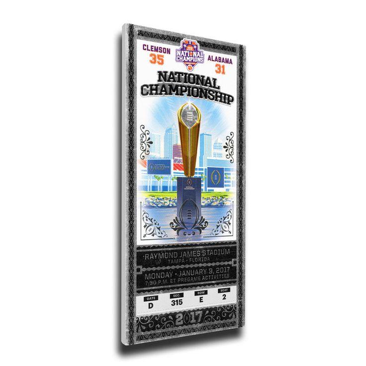 "Clemson Tigers 16"" x 36"" 2016 National Championship Mega Ticket"