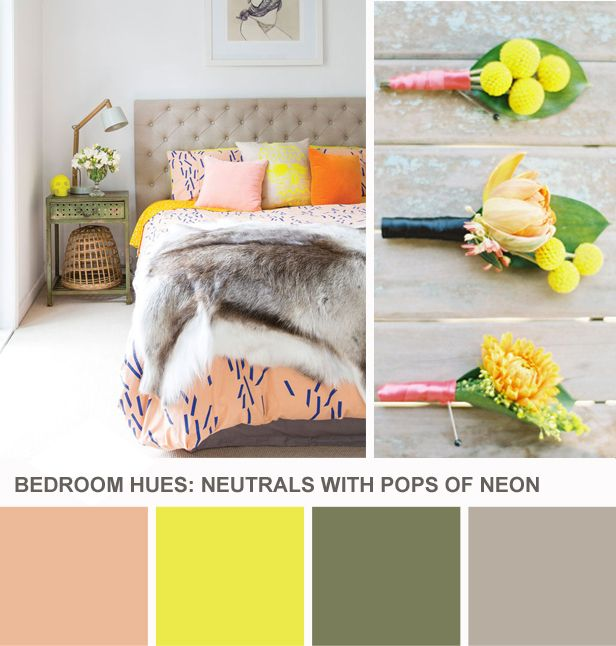 Tuesday Huesday: Neon + Neutral Bedroom Hues (http://blog.hgtv.com/design/2014/03/11/neon-neutral-bedroom-color-palette/?soc=pinterest): Colourful Bedroom, Animal Blankets, Color Schemes, Bedrooms Colors, Bedroom Colors, Colors Combinations, Colors Schemes, Design Blog, Colors Ideas