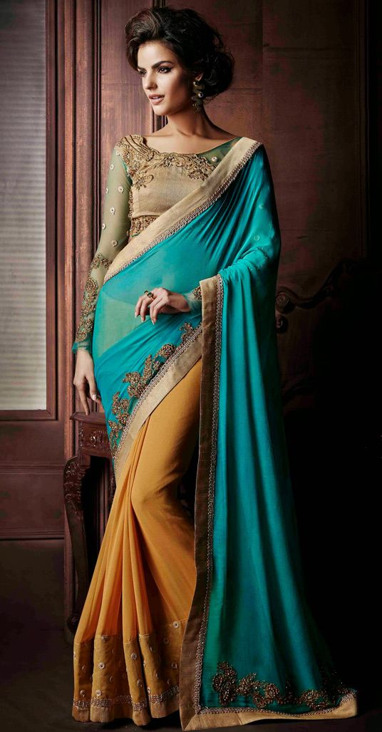 USD 75.60 Aqua Georgette Half and Half Wedding Saree 47406