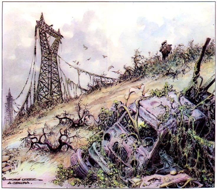A bleak, beautiful landscape from Hombre - The Shadow of Despair by Jose Ortiz and Antonio Segura.