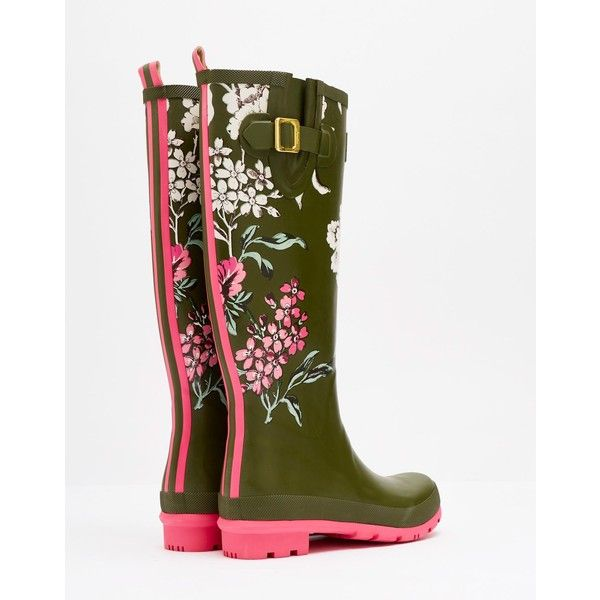 Wellyprint Grape Leaf Floral Printed Rain Boots | Joules US ($75) ❤ liked on Polyvore featuring shoes, boots, rubber boots, floral rain boots, floral print rain boots, green boots and wellington boots