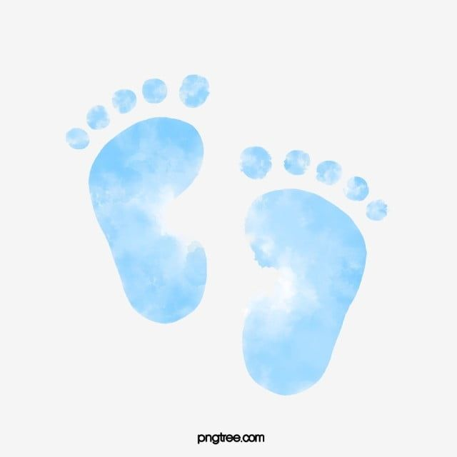 Watercolor Hand Painted Halo Staining Gradient Blue Infant Footprints Png And Psd Baby Shower Art Baby Prints Baby Icon