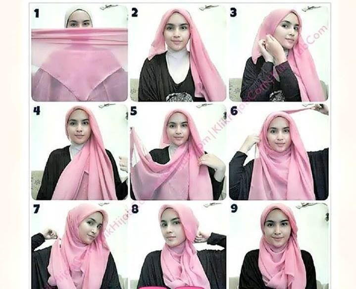 Hijab tutorial, Four square and Shawl on Pinterest