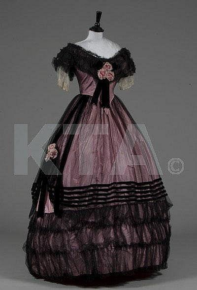 1850s Evening Dress via Kerry Taylor Auctions