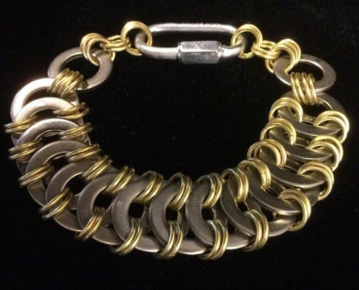 Stainless steel washer and brass bracelet, industrial Chainmaille bracelet, steampunk jewelry, stainless steel jewelry, hardware jewelry by thewatsonswares on Etsy https://www.etsy.com/listing/255908484/stainless-steel-washer-and-brass