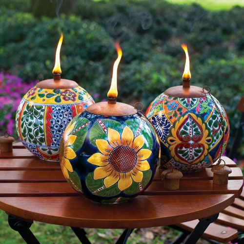 Talavera Style Torch Pots - I love the sunflower one!