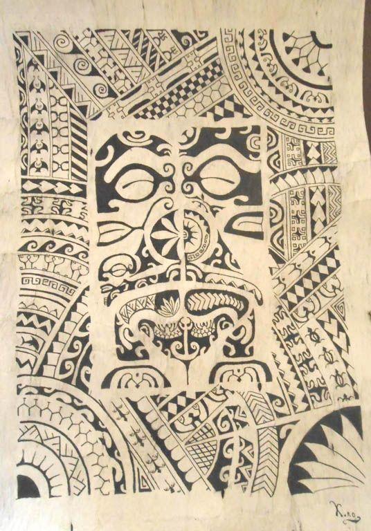"Tapa ""Teora""   Tapa with Marquesan designs - French Polynesia. ( beaten bark of the mulberry tree )."