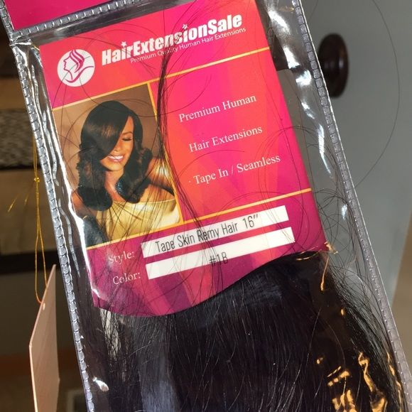"""16"""" tape in human hair extensions. Black. Hair extensions sale 100% human hair. These are tape in, you need a professional to put them in.  10 pieces. Dark black shade. Hair extension sale Other"""