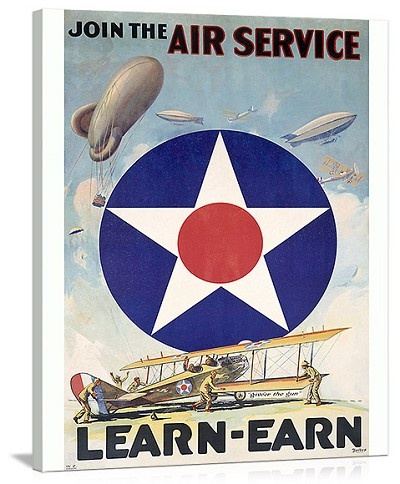 WWI Join the US Army Air Service Vintage Printed On Canvas