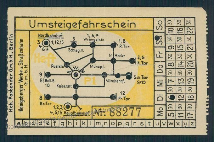 Ticket for the local railway in Koenigsberg, East Prussia, now Kaliningrad, Russia.